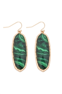 S22-2-4-AE0341GRN-PRINTED EPOXY OVAL DROP HOOK EARRINGS-GREEN/6PCS
