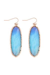SA3-2-2-AE0341LBU-PRINTED EPOXY OVAL DROP HOOK EARRINGS-LIGHT BLUE/6PCS