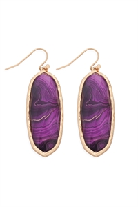 S22-2-4-AE0341PUR-PRINTED EPOXY OVAL DROP HOOK EARRINGS-PURPLE/6PCS