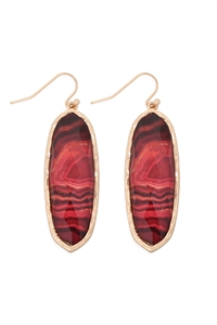 S22-2-4-AE0341RED-PRINTED EPOXY OVAL DROP HOOK EARRINGS-RED/6PCS
