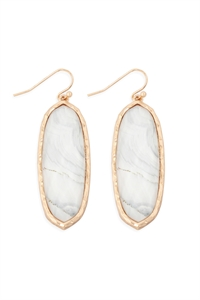 S17-12-4-AE0341WHT-PRINTED EPOXY OVAL DROP HOOK EARRINGS-WHITE/6PCS