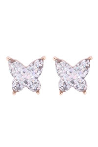 S1-3-4-AE0346AB - BUTTERFLY GLITTER EPOXY EARRINGS - AB/6PCS