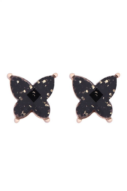 S1-3-4-AE0346GBK - BUTTERFLY GLITTER EPOXY EARRINGS BLACK/6PCS