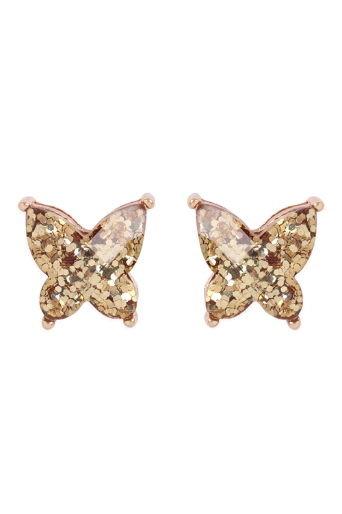 S17-12-5-AE0346GD- BUTTERLY GLITTERER EPOXY EARRINGS - GOLD/6PCS