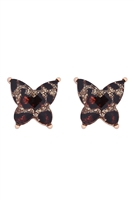 S21-12-1-AE0346GLEO - BUTTERFLY GLITTER EPOXY EARRINGS - GOLD LEOPARD/6PCS
