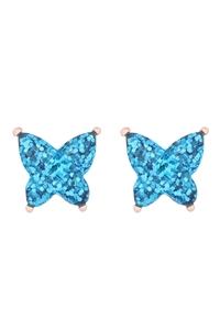 S1-5-4/S21-12-3-AE0346LBU - BUTTERFLY GLITTER EPOXY EARRINGS - LIGHT BLUE/6PCS