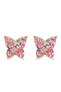 S1-5-4-AE0346LMLT - BUTTERFLY GLITTER EPOXY EARRINGS - LIGHT MULTICOLOR/6PCS