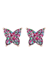 S1-5-4-AE0346MLT - BUTTERFLY GLITTER EPOXY EARRINGS - MULTICOLOR/6PCS