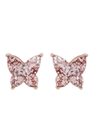 S1-5-4-AE0346RG- BUTTERLY GLITTERER EPOXY EARRINGS - ROSE GOLD/6PCS