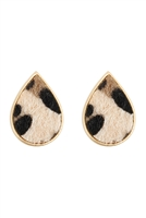 S22-9-1-AE4938WGLEO - ACETATE TEARDROP STUD EARRINGS - LEOPARD/6PCS