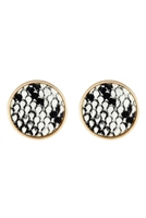 S22-9-1-AE4941WGSNK - SNAKE SKIN LEATHER ROUND STUD EARRINGS/6PCS