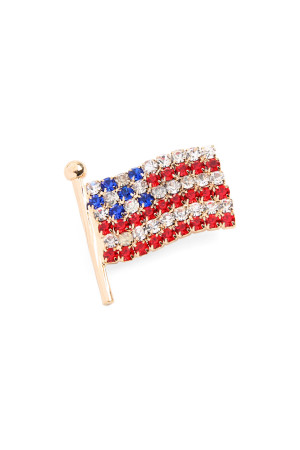 S7-6-2-AAJBR0019GD GOLD RHINESTONE AMERICAN FLAG BROOCH PIN/12PCS