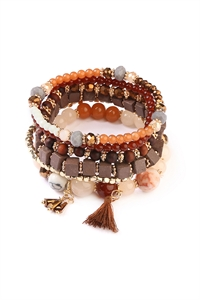 S7-4-4-AAMB2056BR BROWN CHARM STACK BRACELET/6PCS
