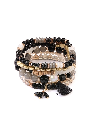 S4-5-4-AAMB2058BK BLACK BEADS STACK BRACELET/6PCS
