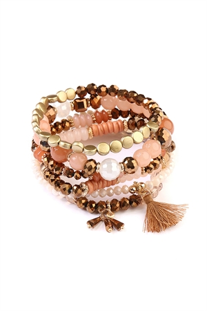 S4-5-4-AAMB2058LBR LIGHT BROWN BEADS STACK BRACELET/6PCS