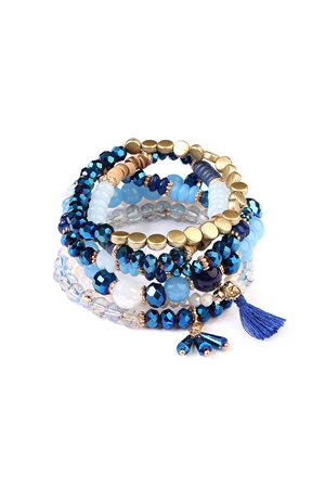 S4-5-4-AAMB2058NV NAVY BEADS STACK BRACELET/6PCS