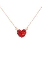 S21-8-4-AN0105RED- HEART GLITTER EPOXY NECKLACE-RED/6PCS