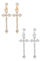 S25-7-2-ANE4749 - CROSS RHINESTONE POST DANGLE EARRINGS/12PCS