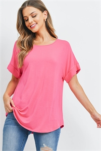 SA3-0-2-AT-45050-FCH - LUXE RAYON ROLLED SLEEVE BOAT NECK ROUND HEM TOP- FUCHSIA 1-1-2-2