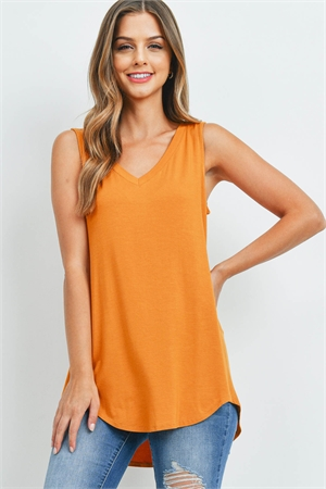 SA3-000-4-AT-5540-GDMU - LUXE RAYON SLEEVELESS V-NECK HI-LOW HEM TOP- GOLDEN MUSTARD 1-1-2-2