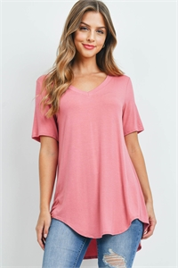 S16-6-5-AT-5541-DSRTRS - LUXE RAYON SHORT SLEEVE V-NECK HI-LOW HEM TOP- DESERT ROSE 1-1-2-2