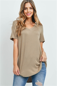 S15-8-1-AT-5541-KHK - LUXE RAYON SHORT SLEEVE V-NECK HI-LOW HEM TOP- KHAKI 1-1-2-2