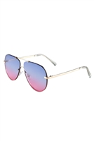 S17-2-5-AV-1550-FT-OC-RIMLESS FLAT OCEANIC COLOR AVIATORS BULK SUNGLASSES/12PCS