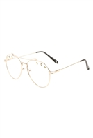 S17-2-5-AV-1589-CLR-STAR STUDDED CLEAR LENS AVIATORS WHOLESALE GLASSES/12PCS