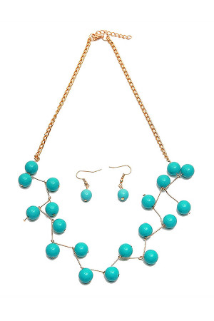 S5-4-2-AKPN11365TQG WIRED TURQUOISE GOLD CHAIN NECKLACE AND EARRING SET/12SETS