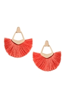 S25-8-2-B1E2121COR - BOHEMIAN INSPIRED TASSEL DANGLE EARRINGS - STYLE 2 - CORAL/6PAIRS