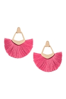 S25-8-2-B1E2121FU - BOHEMIAN INSPIRED TASSEL DANGLE EARRINGS-FUCHSIA/6PAIRS