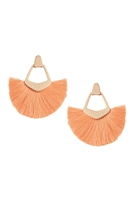 S25-8-2-B1E2121PH - BOHEMIAN INSPIRED TASSEL DANGLE EARRINGS-PEACH/6PAIRS