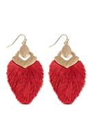 S25-3-3-B1E2508BGD - DANGLE TASSEL DROP EARRINGS - BURGUNDY/6PCS
