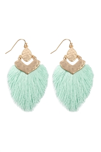 S25-3-3-B1E2508MT - DANGLE TASSEL DROP EARRINGS - MINT/6PCS