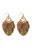 S25-7-3-B1E2508MUL - DANGLE TASSEL DROP EARRINGS - MULTICOLOR/6PCS
