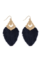 S25-3-3-B1E2508NV - DANGLE TASSEL DROP EARRINGS - NAVY/6PCS