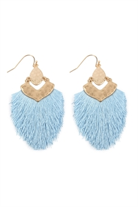 S25-3-3-B1E2508PER - DANGLE TASSEL DROP EARRINGS - LIGHT BLUE/6PCS