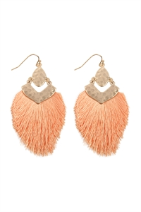 S25-3-3-B1E2508PH - DANGLE TASSEL DROP EARRINGS - PEACH/6PCS