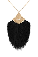 S22-4-3-B1N2508JET - ARROW SHAPED TASSEL PENDANT LINKED NECKLACE - BLACK/6PCS