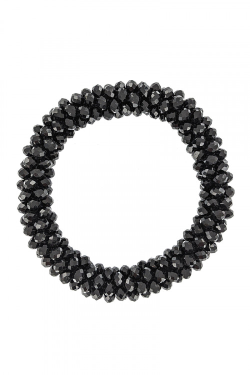 S1-1-2-LBB2572BK BLACK BEADED ADJUSTABLE BRACELET/3PCS