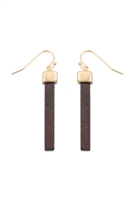 S25-8-2-B2E2004DBRN - WOOD BAR FISH HOOK DROP EARRINGS - DARK BROWN/6PAIRS