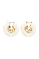 S22-7-3-B2E2039IV - FRINGED THREAD HOOP EARRINGS - IVORY/6PCS
