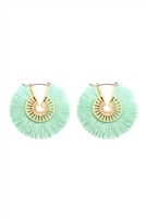 S22-7-3-B2E2039MT - FRINGED THREAD HOOP EARRINGS - MINT/6PCS