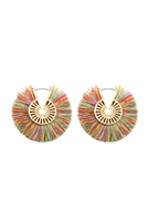 S22-7-3-B2E2039MUL - FRINGED THREAD HOOP EARRINGS - MULTICOLOR/6PCS