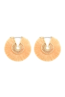 S22-7-3-B2E2039PH - FRINGED THREAD HOOP EARRINGS - PEACH/6PCS