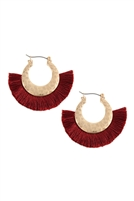 S22-4-3-B2E2776BGD - FAN TASSEL WITH METAL HAMMERED HOOP EARRINGS - BURGUNDY /6PAIRS