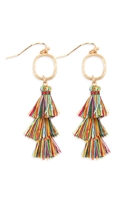 S24-5-4-B2E2779MUL - THREE DROP TASSEL WITH METAL HOOK EARRINGS - MULTICOLOR/6PAIRS