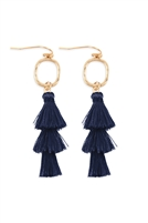 S24-5-4-B2E2779NV - THREE DROP TASSEL WITH METAL HOOK EARRINGS -NAVY/6PAIRS
