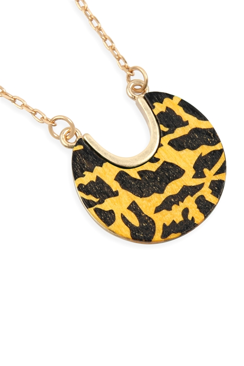 A2-3-2-B2N2035YLW - HALF MOON WOOD CHAIN NECKLACE - YELLOW/6PCS