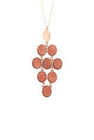 S1-8-4-B2N2159LBRN - ROUND WOOD DIAMOND SHAPE PENDANT NECKLACE-LIGHT BROWN/6PCS